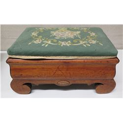 Carved Wooden Footstool w/ Green Floral Upholstered Top (shows some wear)