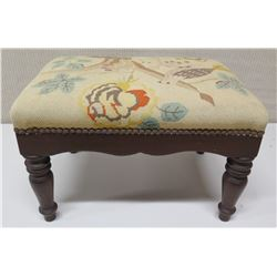 Wooden Footstool with Brocade Upholstered Top