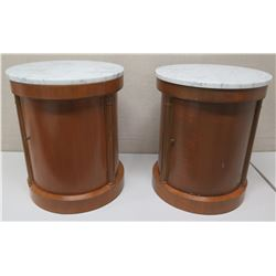 Qty 2 Round Cyclindrical Wooden End Tables w/ Cabinet, Shelving & Stone Top