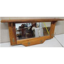 Wooden Mirrored Wall Shelf w/ Hooks
