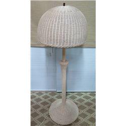 """White Woven Wicker Floor Lamp w/ Wicker Shade, 60"""" Tall"""