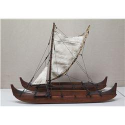 "Double Hull, Wa'a Kaulua, Voyaging Canoe with 2 Sails, 50"" Long, Built/Designed by James Kimo Hugho"