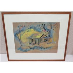 Framed Watercolor of House - Signed 'Red Pilaa 1952' (31x25.5)