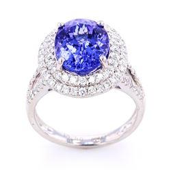 RARE AAA Quality Tanzanite & Diamond Platinum Ring