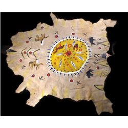 Northern Plains Indian Painted Buffalo Hide