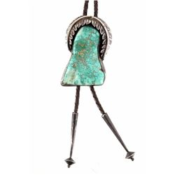 Signed Navajo Silver & Turquoise Nugget Bolo