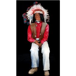 Life Size Seated Cigar Store Indian With Headdress