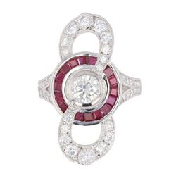 Art Deco Infinity Diamond & Ruby Platinum Ring