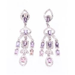 Rare Unheated Pink Sapphire & Diamond 18K Earrings