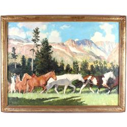 Robert Wesley Amick (1879-1969) Roundup Oil LARGE