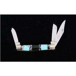 Navajo Turquoise & Agate Inlaid Buffalo Knife