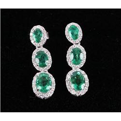 Luxury 4.88 cts. Emerald & Diamond 14K Earrings