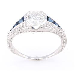 1930's 1.24 cts. Diamond & Blue Sapphire 14K Ring