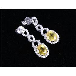 Luxury Yellow Sapphire & Diamond Platinum Earrings