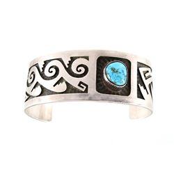 Signed Navajo Sterling Silver & Turquoise Bracelet