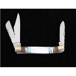 Navajo Turquoise Inlaid Buffalo Pocket Knife
