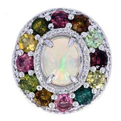 Precious Opal & Semi-Precious Gemstone Silver Ring