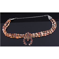 Navajo Sterling Rose Quartz Necklace by Betty Lee