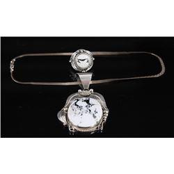 A. Largo & P. Yazzie Howlite Necklace & Ring