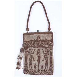Egyptian Figural Fully Beaded Purse c. 1930's