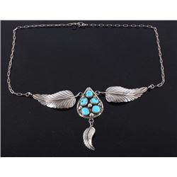 Signed Navajo Sterling Silver Feathers Necklace