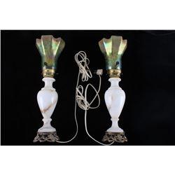 Pair of Victorian Era Acrylic Iridescent Lamps