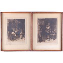 Pair of After Rajon & Meissonier Framed Etchings