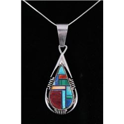 Signed Navajo Sterling & Multi Stone Necklace