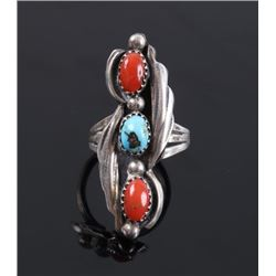 Navajo Sterling Turquoise & Coral Ring