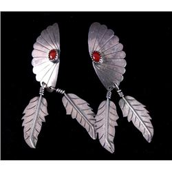 Navajo Sterling Silver w/ Corral Gemstone Earrings