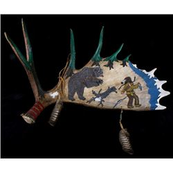 Painted Moose Antler Shed w/ Native American Scene