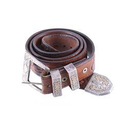 1925 Taxco Gold & Sterling Ranger Buckle & Belt