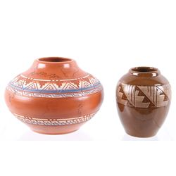 Navajo Hand Made Signed Polychrome Pottery Jars