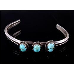 Navajo Sterling Silver Number 8 Turquoise Bracelet