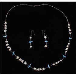Navajo Bone & Bird Necklace, and Earrings