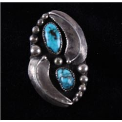 Signed Navajo Sleeping Beauty Silver Feather Ring