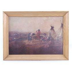 """Framed Charles Russell """"Indian Camp"""" Print"""