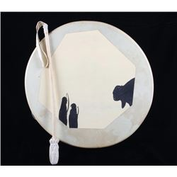 Plains Indian Style Stretched Raw Hide Drum