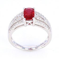 Natural Untreated Ruby & Diamond Platinum Ring