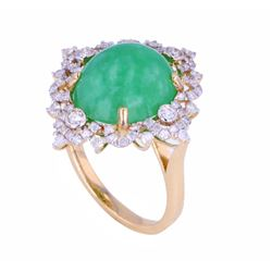 14K Gold Jadeite & Diamond Ring w/ Paperwork