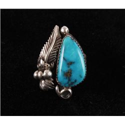 Signed Sleeping Beauty Turquoise Silver Ring