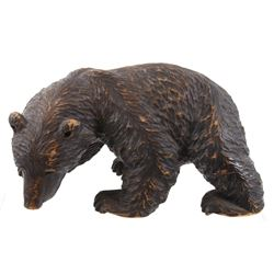 Hand Carved Wooden Black Bear Statue