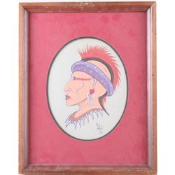 American Indian Woman Oil Painting by G White 1973