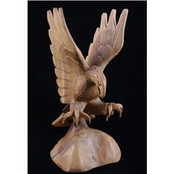 Hand Carved Wooden Eagle Statue