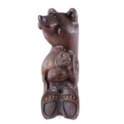 Contemporary Hardwood Carved Bear & Fish