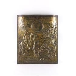 Embossed Brass Cowboy Fireplace Shield