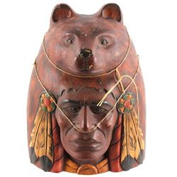 Carved Wooden Indian and Bear Headdress