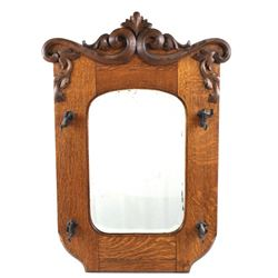 Victorian Oak Framed Hall Mirror With Coat Hooks