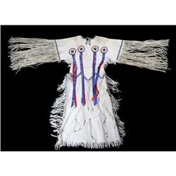 Sioux Beaded Women's Hide Fringed Dress c. 1960's