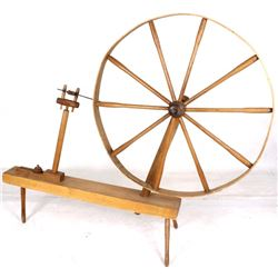 Circa 1788 Hand Hewn & Carved Wood Spinning Wheel